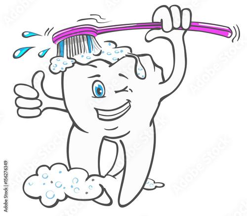 fröhlicher Zahn putzt sich mit Zahnbürste, Comic-Style\