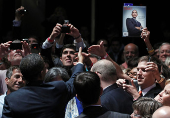 U.S. President Barack Obama greets supporters after delivering remarks at a DNC event at Austin City Limits Moody Theater in Austin, Texas
