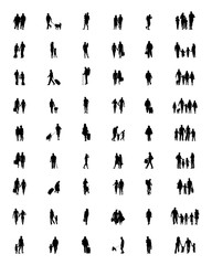 Black silhouettes of people at walking, vector