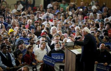 U.S. Democratic presidential candidate Bernie Sanders speaks at a campaign rally in Las Vegas