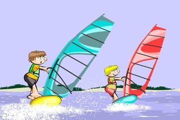 Windsurf summer cartoon