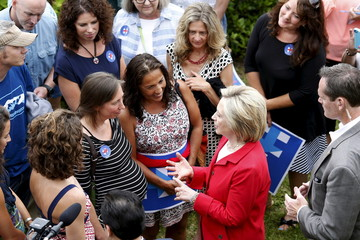 Former United States Secretary of State and Democratic candidate for president Hillary Clinton speaks to supporters during a campaign event in Glen