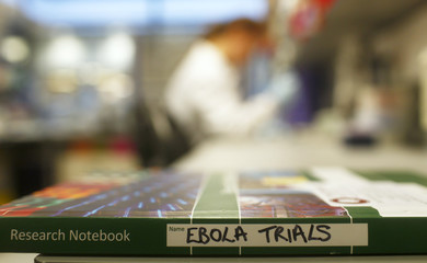 An Ebola trials notebook is seen in a laboratory during trials for an Ebola vaccine at The Jenner Institute in Oxford