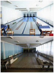 Combo photo of bowling alley before and after floods in Maglaj