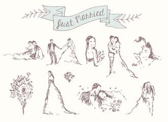 Drawn set bride groom decoration invitation vector