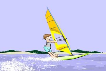 Winsurfing hapyy cartoon