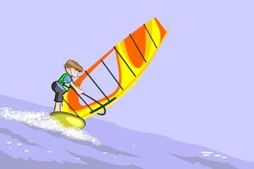 Boy practicing windsurfing in the ocean