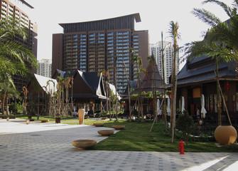 Hotel rooms are seen at Mangrove Tree Resort on Sanya Bay in Hainan island