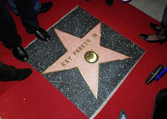 Musician Ray Parker Jr.'s star is pictured on the Hollywood Walk of Fame in Los Angeles