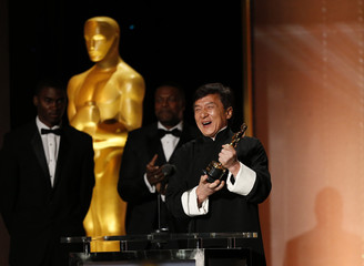 Actor Jackie Chan accepts his Honorary Award at the 8th Annual Governors Awards in Los Angeles