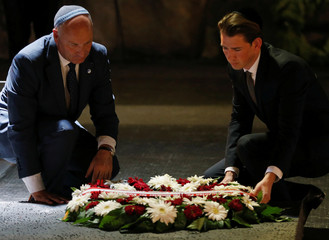 Austrian Foreign Minister Sebastian Kurz lays a wreath,during a ceremony in the Hall of Remembrance at Yad Vashem Holocaust Memorial in Jerusalem