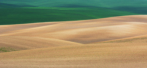Abstract view of spring fields in Volhynia, Ukraine
