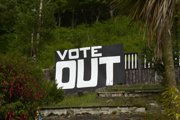 A sign is displayed opposite the M4 near Tata Steel works, on the day of the EU referendum, in Port Talbot in Wales