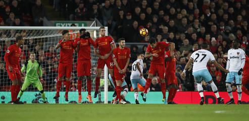 West Ham United's Dimitri Payet scores their first goal