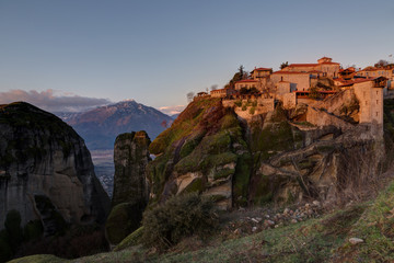 Monastery of Great Meteoron is the largest monastery at Meteora in Greece after sunrise