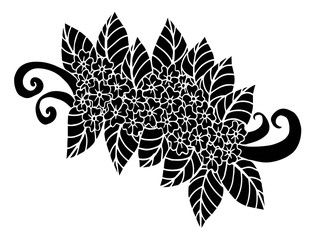 oodle floral pattern in black and white. Page for coloring book: very interesting and relaxing job for children and adults. Zentangle drawing. Flower carpet in magic garden