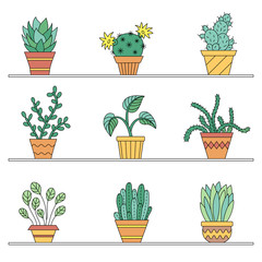 Icons potted plants.