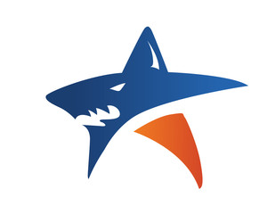 Modern Shark And Star Logo