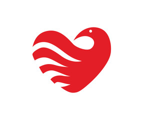 Modern Dove And Love Wave Logo