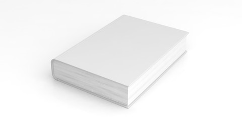 Blank book template on white background. 3d illustration