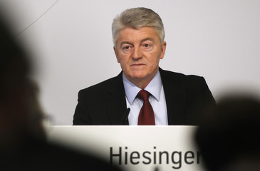 ThyssenKrupp AG Chief Executive Hiesinger listens during the annual news conference at their headquarters in Essen
