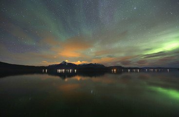 The Aurora Borealis (Northern Lights) is seen over the Bals-Fiord near the village of Mestervik, north of the Arctic Circle