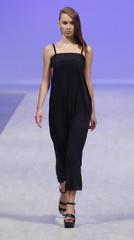 A model presents a creation by Ukrainian designer Pechenaya during Ukrainian Fashion Week in Kiev