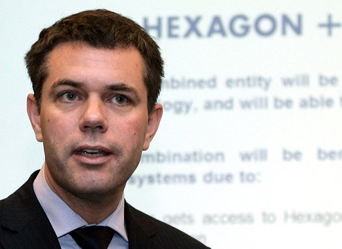 Ola Rollen, chief executive of the Swedish engineering group Hexagon AB, speaks during a news conference in Zurich