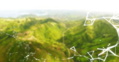 White network against green blurry mountains