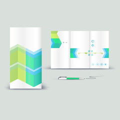 Corporate booklet promotion template with color elements. Vector company brichure business style for advertising, report or guideline. Stationery template with abstract pattern theme illustration.