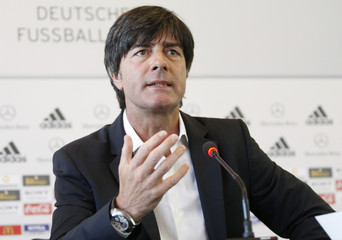 Loew, coach of Germany's national soccer team, addresses the media during a news conference in Frankfurt