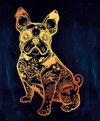 Vintage bulldog or pug decorated in flash tattoos.