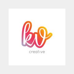 KV logo, vector. Useful as branding, app icon, alphabet combination, clip-art.