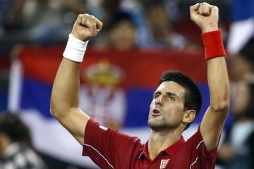 Novak Djokovic of Serbia celebrates winning his men's singles tennis match against David Ferrer of Spain at the Shanghai Masters tennis tournament in Shanghai
