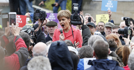 Nicola Sturgeon, leader of the Scottish National Party, makes a speech on the final day of campaigning in Edinburgh Scotland