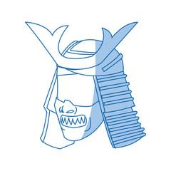 fearsome samurai mask culture japanese vector illustration