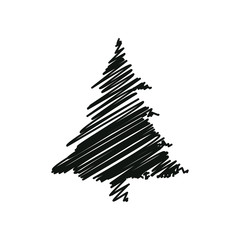 black drawing pine tree christmas decoration vector illustration
