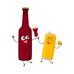 Funny beer bottle and can characters having fun, drinking, holding glasses, cartoon vector illustration isolated on white background. Funny beer bottle and can characters with smiling human faces