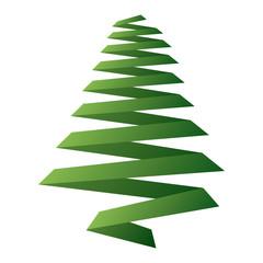 pine tree ribbon shape christmas decoration image vector illustration.