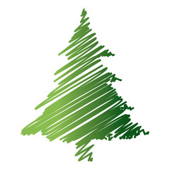 green drawing pine tree christmas ornament image vector illustration