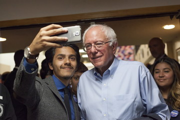 U.S. Democratic presidential candidate Bernie Sanders poses for pictures after his speech at Creative Visions Human Development Institute in Des Moines