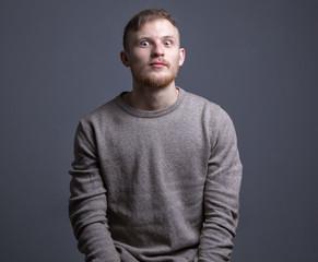 Portrait of beard surprised man