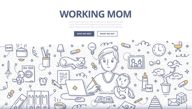 Working Mom Doodle Concept