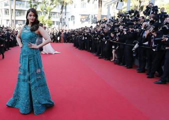 "Actress Aishwarya Rai Bachchan poses on the red carpet as she arrives for the screening of the film ""Carol"" in competition at the 68th Cannes Film Festival in Cannes"