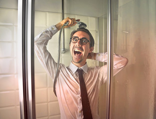 Crazy employee in the shower