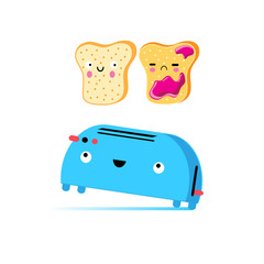 Funny vector cartoon toast and toaster