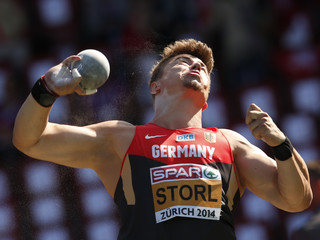 Storl of Germany competes in men's shot put qualifying round during European Athletics Championships in Zurich