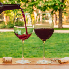 Red wine poured into glass at picnic, with copyspace