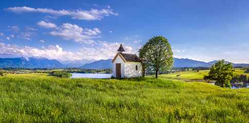 Mesnerhaus Chapel on Aidlinger Hoehe with Lake Riegsee, Upper Bavaria, Bavaria, Germany, Europe Wall mural