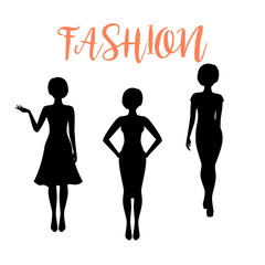Fashion woman silhouette with different hairstyle